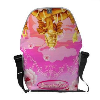 Ganesha with pink flowers Messenger bag