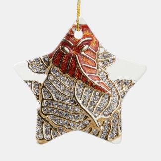 GANESHJI DIAMOND DESIGNS Double-Sided STAR CERAMIC CHRISTMAS ORNAMENT