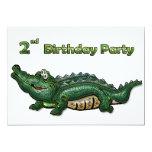 Gang Green Gator 2nd Birthday 5x7 Paper Invitation Card