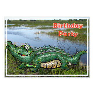 Gang Green Gator in the Glades Birthday Invitation