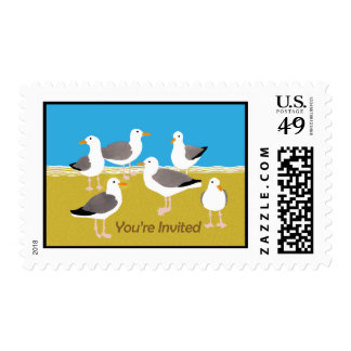 Gang of Seagulls at the Beach You're Invited Stamp