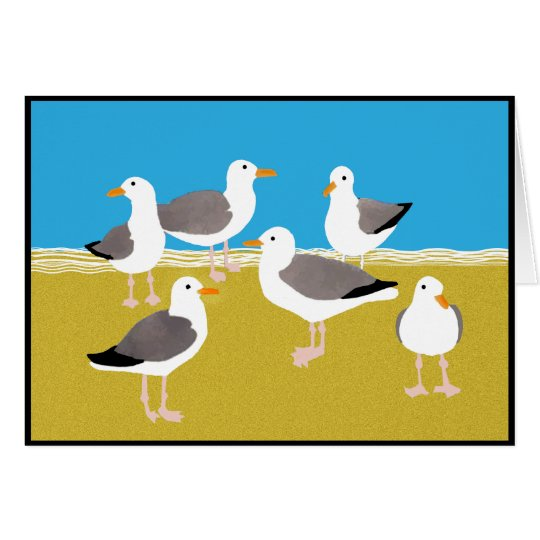 Gang of Seagulls at the Ocean Edge Card
