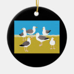 Gang of Seagulls at the Ocean Edge Double-Sided Ceramic Round Christmas Ornament