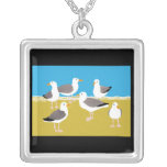 Gang of Seagulls at the Ocean Edge Square Pendant Necklace