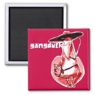 gangduck funny gangster bandit duck cartoon magnet