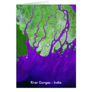 Ganges River Delta Satellite Image - India Greeting Card