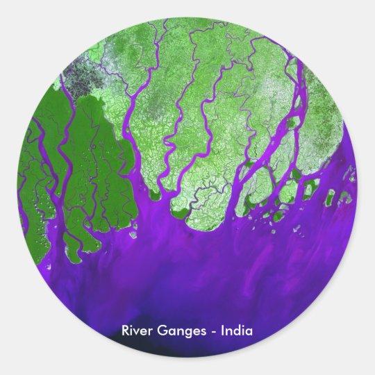 Ganges River Delta Satellite Image - India Classic Round Sticker