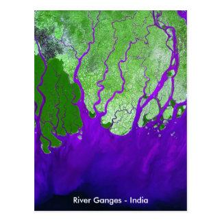 Ganges River Delta Satellite Image - India Post Cards