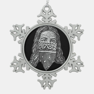 Gangsta Jesus Snowflake Pewter Christmas Ornament