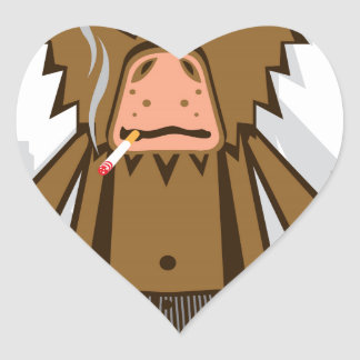 Gangsta Monkey Heart Sticker