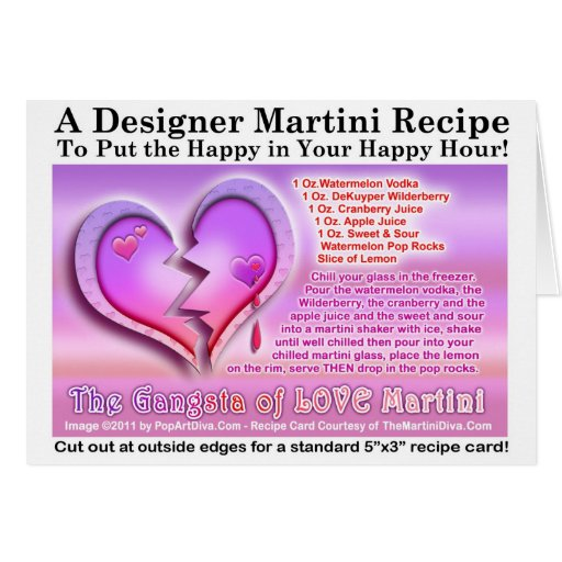 Gangsta of Love Valentine Martini Recipe Card