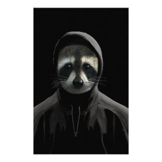 Gangsta raccoon stationery