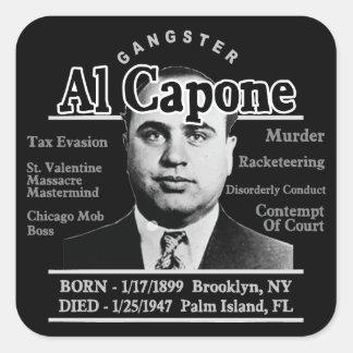 Gángster Al Capone Pegatina Cuadrada