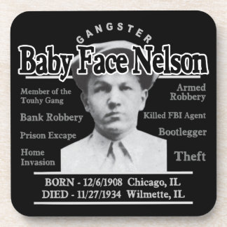 Gangster Baby Face Nelson Beverage Coasters