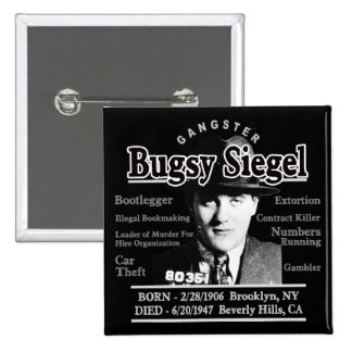 Gangster Bugsy Siegel Pinback Buttons
