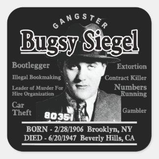 Gángster Bugsy Siegel Pegatina Cuadrada