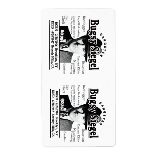 Gangster Bugsy Siegel Shipping Labels