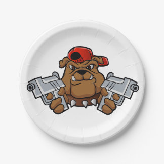 gangster bulldog  with pistols paper plate