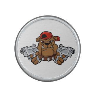 gangster bulldog  with pistols speaker