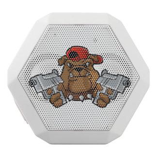 gangster bulldog  with pistols white bluetooth speaker