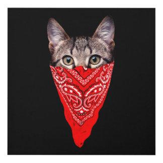 gangster cat - bandana cat - cat gang panel wall art
