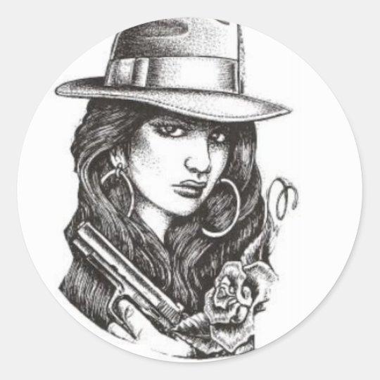 gangster classic round sticker