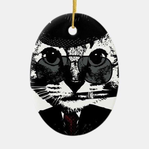 Gángster del gato adorno navideño ovalado de cerámica