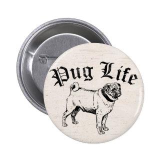 Gángster divertido del perro de la vida del barro pin redondo de 2 pulgadas