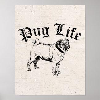 Gángster divertido del perro de la vida del barro póster