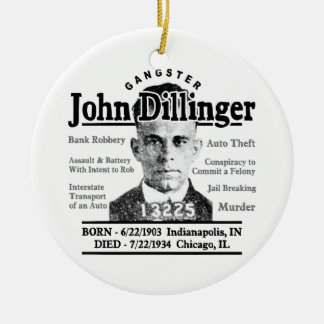 Gangster John Dillinger Ceramic Ornament