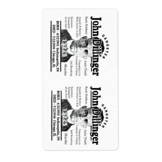 Gangster John Dillinger Shipping Label