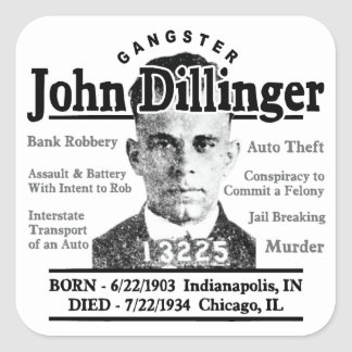 Gángster John Dillinger Pegatina Cuadrada