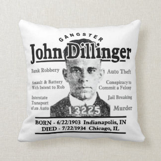 Gangster John Dillinger Throw Pillows