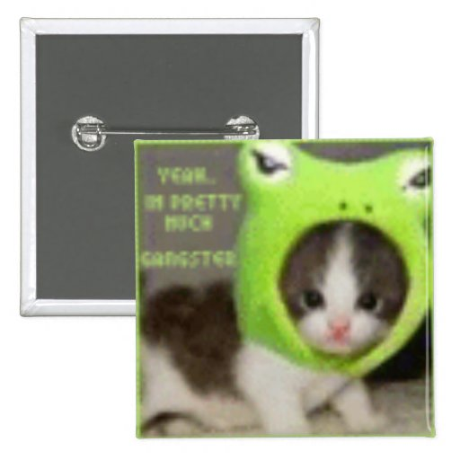 Gangster Kitty 2 Inch Square Button