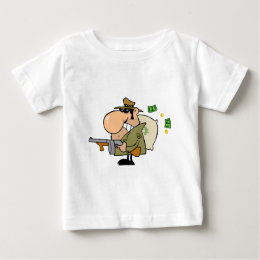 Gangster Man With His Gun And Bag Of Money Baby T Shirt