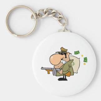 Gangster Man with his Gun and Bag of Money Keychain