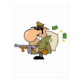 Gangster Man With His Gun And Bag Of Money Postcard