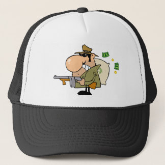 Gangster Man With His Gun And Bag Of Money Trucker Hat