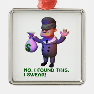 Gangster Square Metal Christmas Ornament