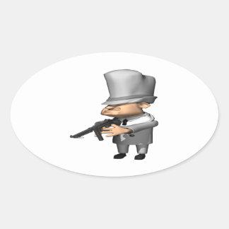 Gangster Oval Sticker