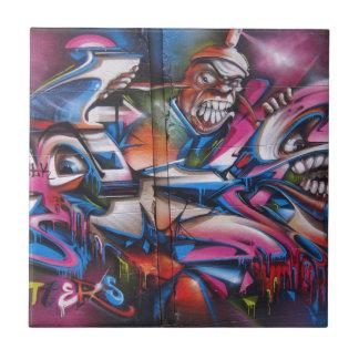 Gangster rapper urban graffiti street art small square tile