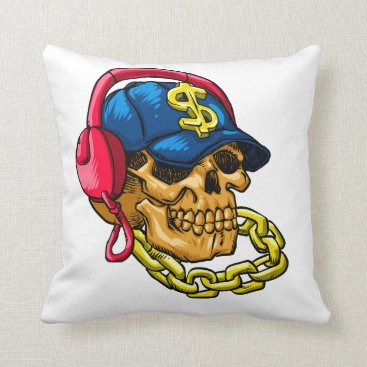 Gangster skull throw pillow