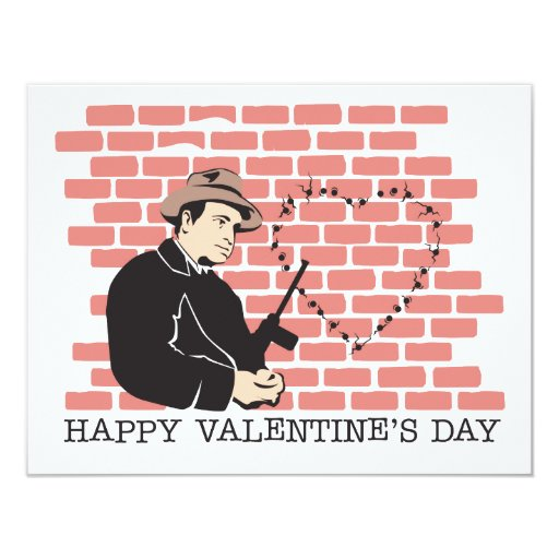 Gangster Valentine's Day 4.25x5.5 Paper Invitation Card