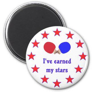 Ganó a mis estrellas ping-pong imán redondo 5 cm