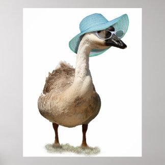 Ganso con un gorra azul flojo del verano póster
