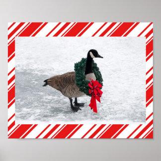 Ganso del navidad con el poster de la guirnalda
