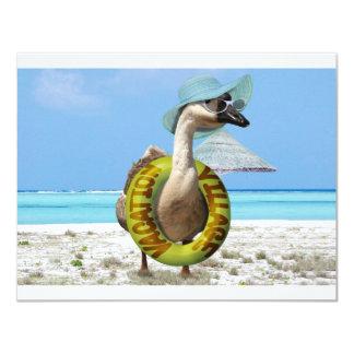 Ganso divertido en la playa invitación 10,8 x 13,9 cm