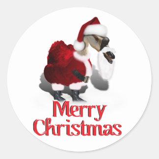 Ganso tonto de Santa - navidad palmído Pegatinas Redondas