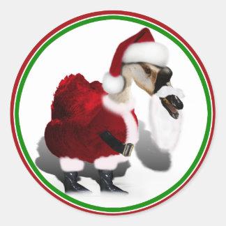 Ganso tonto de Santa - navidad palmído Etiquetas Redondas