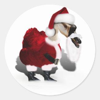 Ganso tonto de Santa - navidad palmído Pegatina Redonda
